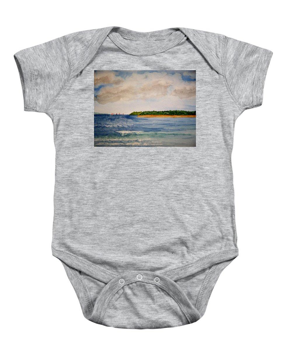 Landscape Baby Onesie featuring the painting Regatta by B Kathleen Fannin