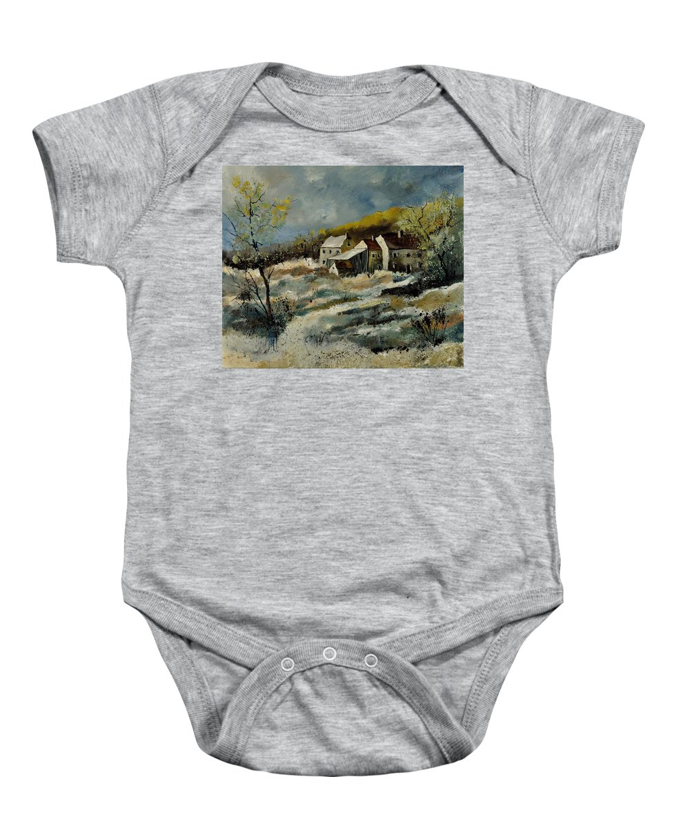 Landscape Baby Onesie featuring the painting Remote Houses In The Ardennes by Pol Ledent