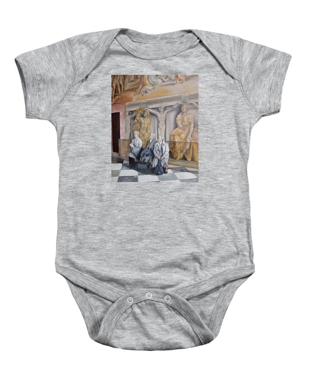 Vaticano Baby Onesie featuring the painting Reposo En El Vaticano by Tomas Castano