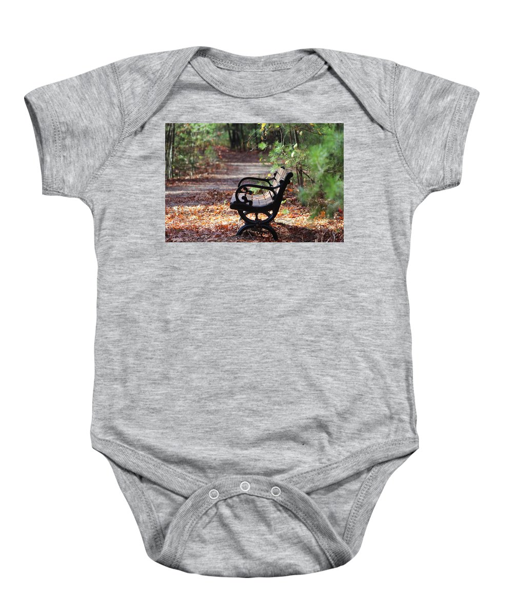 Bench Baby Onesie featuring the photograph Rest A While by Kathleen Moore Lutz