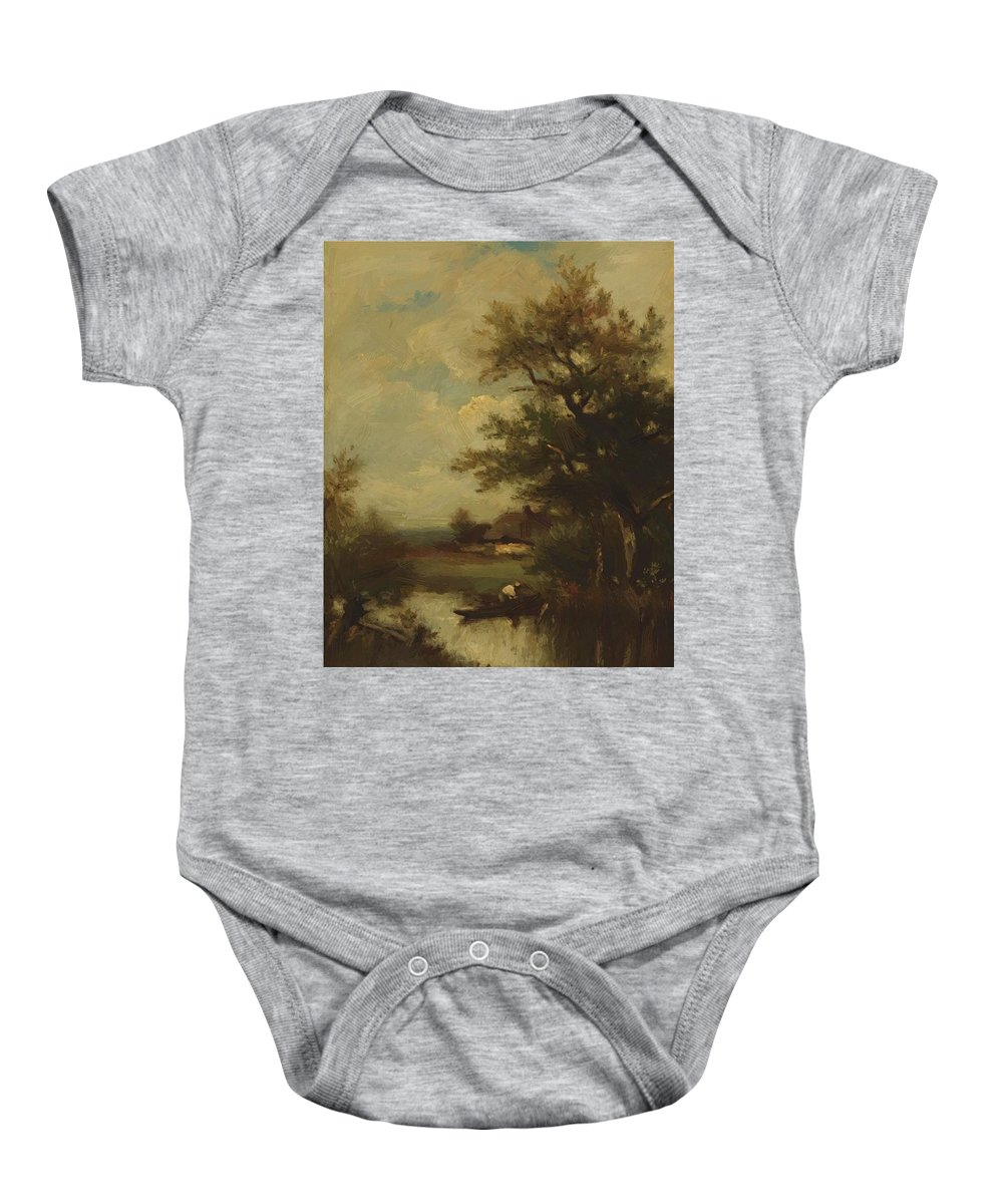 Return Baby Onesie featuring the painting Return Of The Fisherman by Dupre Jules
