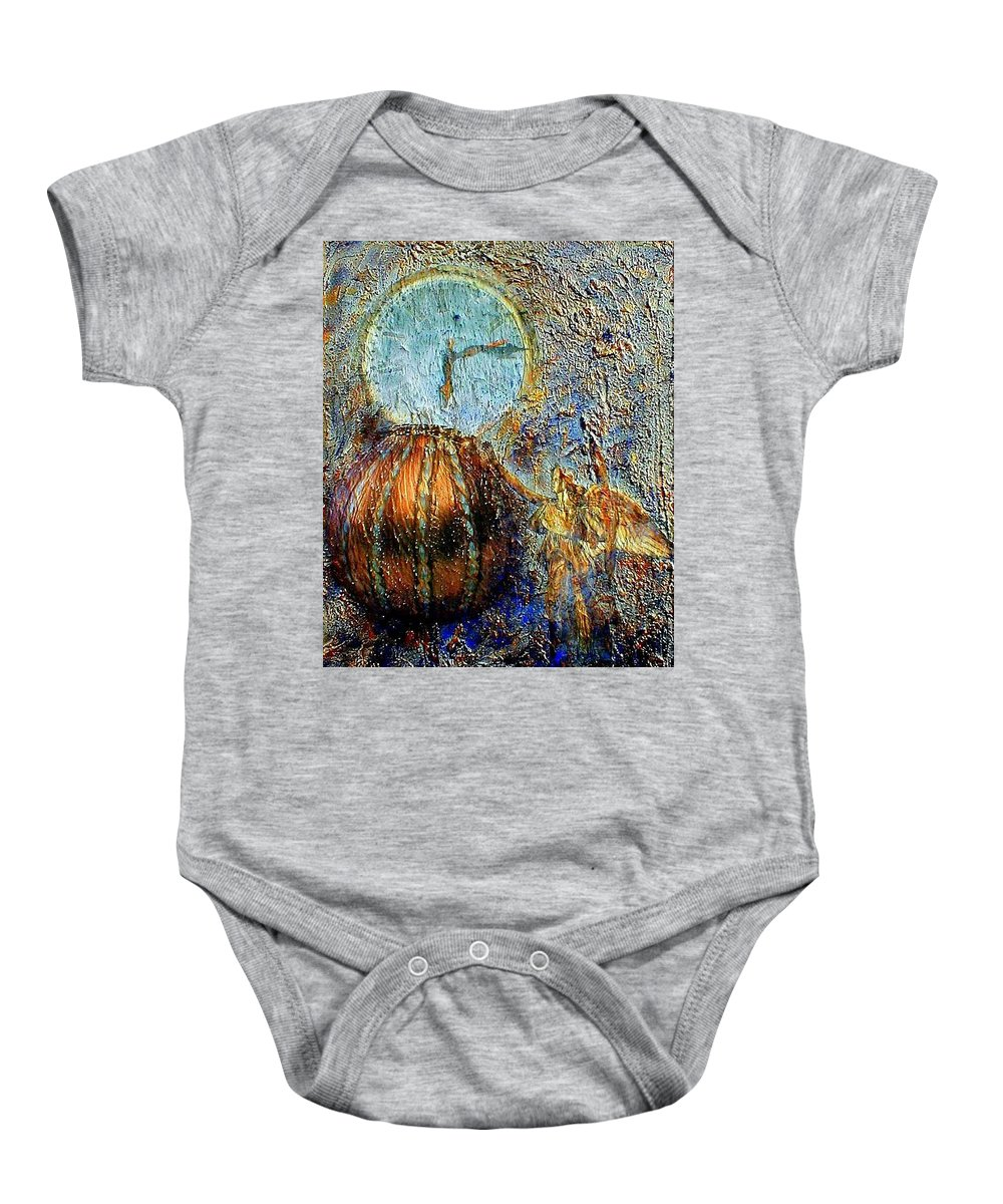 Christian Baby Onesie featuring the mixed media Revelation by Gail Kirtz