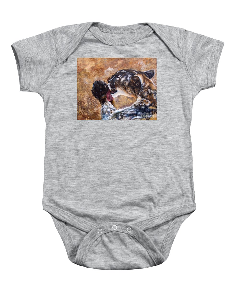 Catamount Baby Onesie featuring the painting Reverie by J W Baker