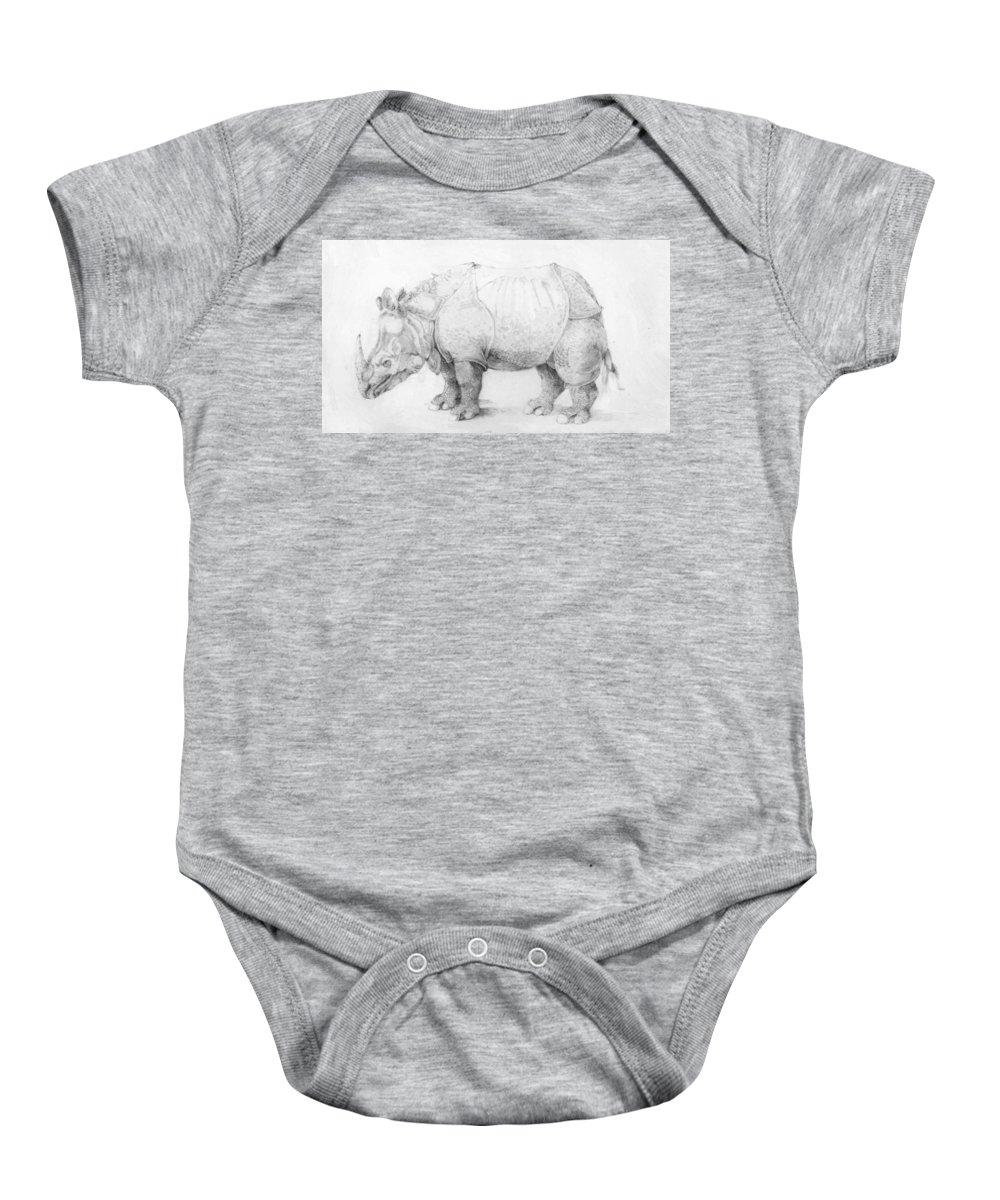 Rhinoceros Baby Onesie featuring the painting Rhinoceros by Durer Albrecht