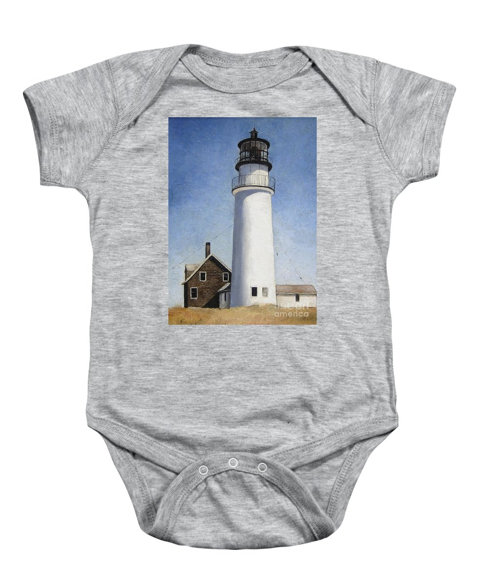 Lighthouse Baby Onesie featuring the painting Rhode Island Lighthouse by Mary Rogers