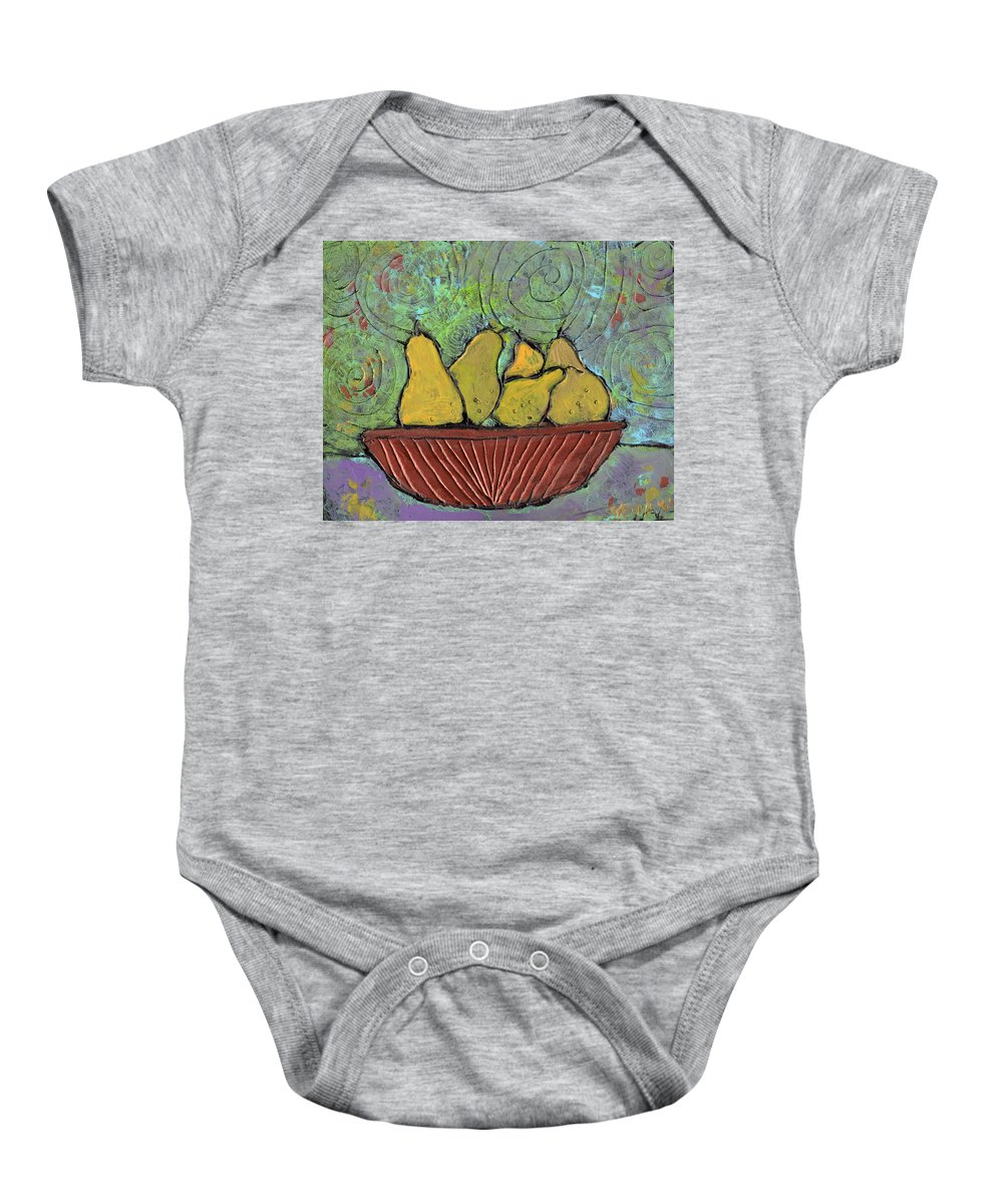 Pears Baby Onesie featuring the painting Richmond Pears by Wayne Potrafka