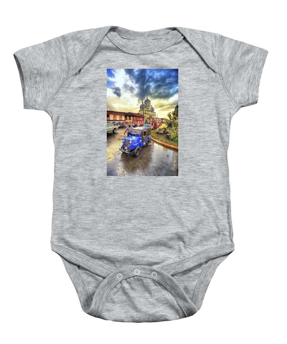 Golden Hour Baby Onesie featuring the photograph La Plaza by Francisco Gomez