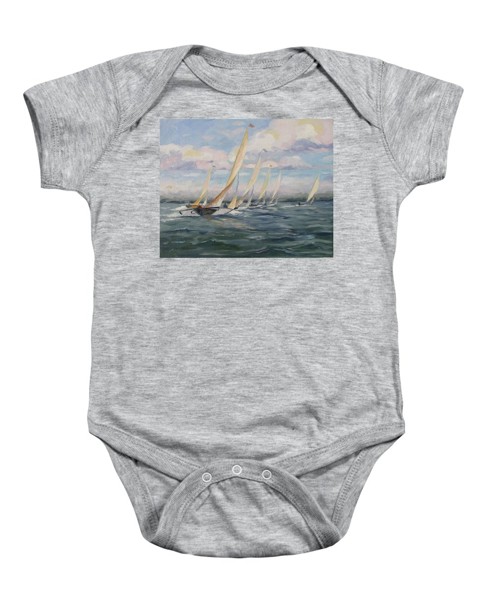 Riding Waves Baby Onesie featuring the painting Riding The Waves by Jay Johnson