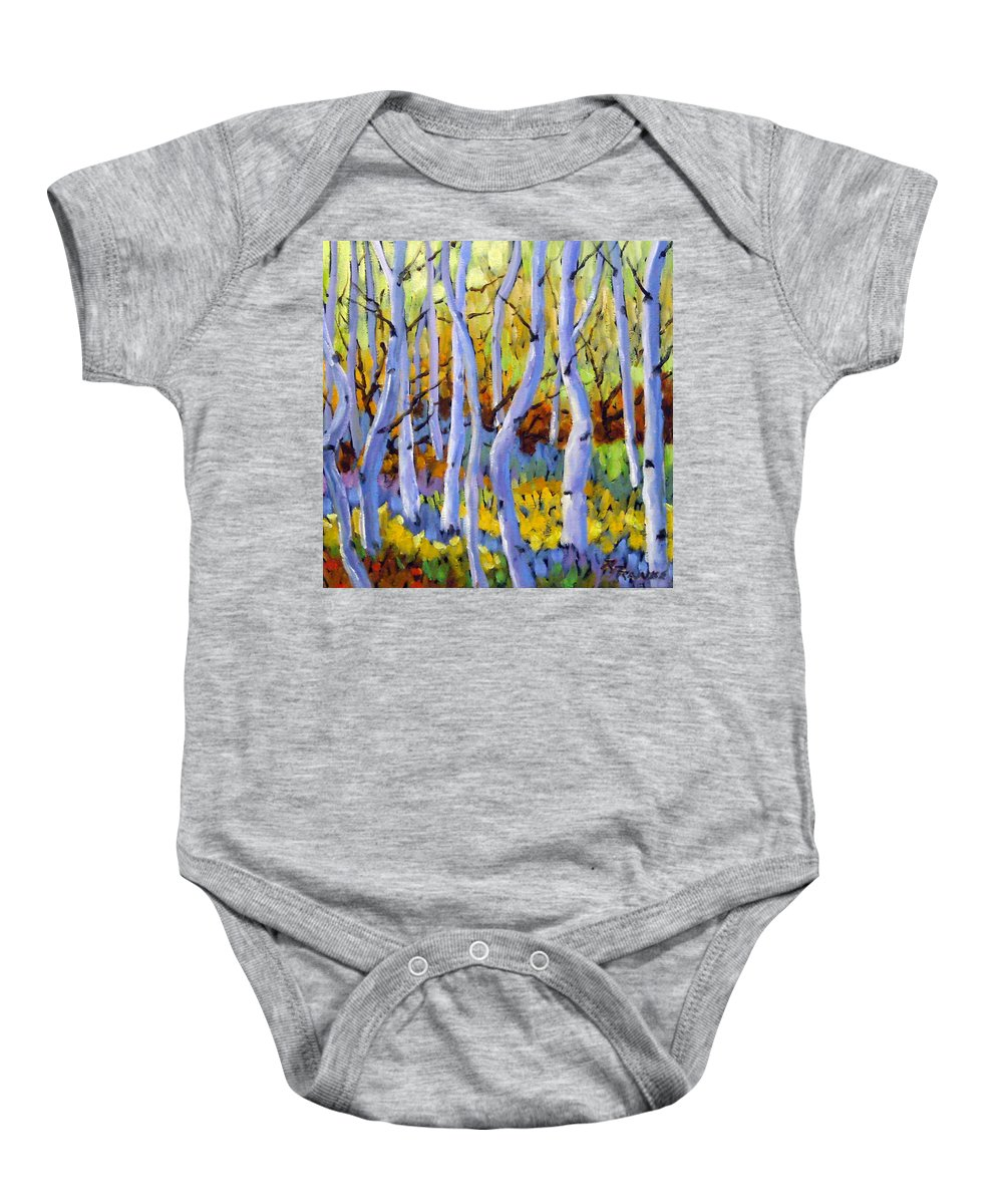 Art Baby Onesie featuring the painting Rigaudon Of Aspens by Richard T Pranke