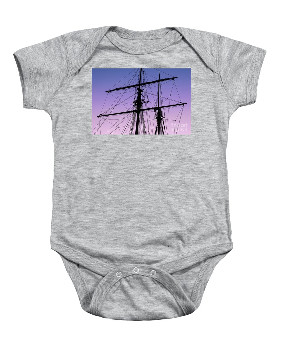 Tall Ships Baby Onesie featuring the photograph Rigged And Ready by Christopher Marona