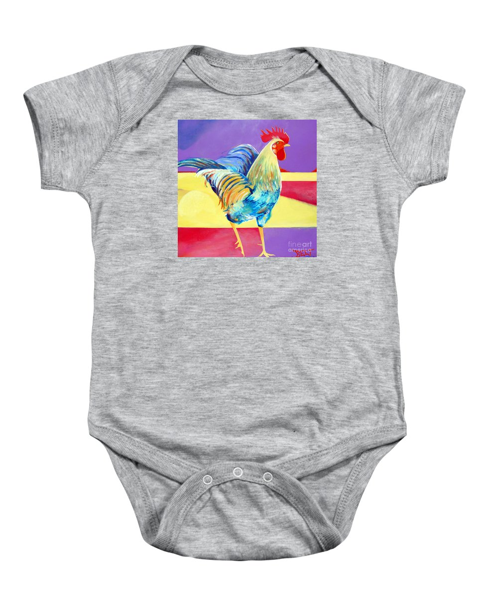 Rooster Baby Onesie featuring the painting Riley The Rooster by Christine Belt