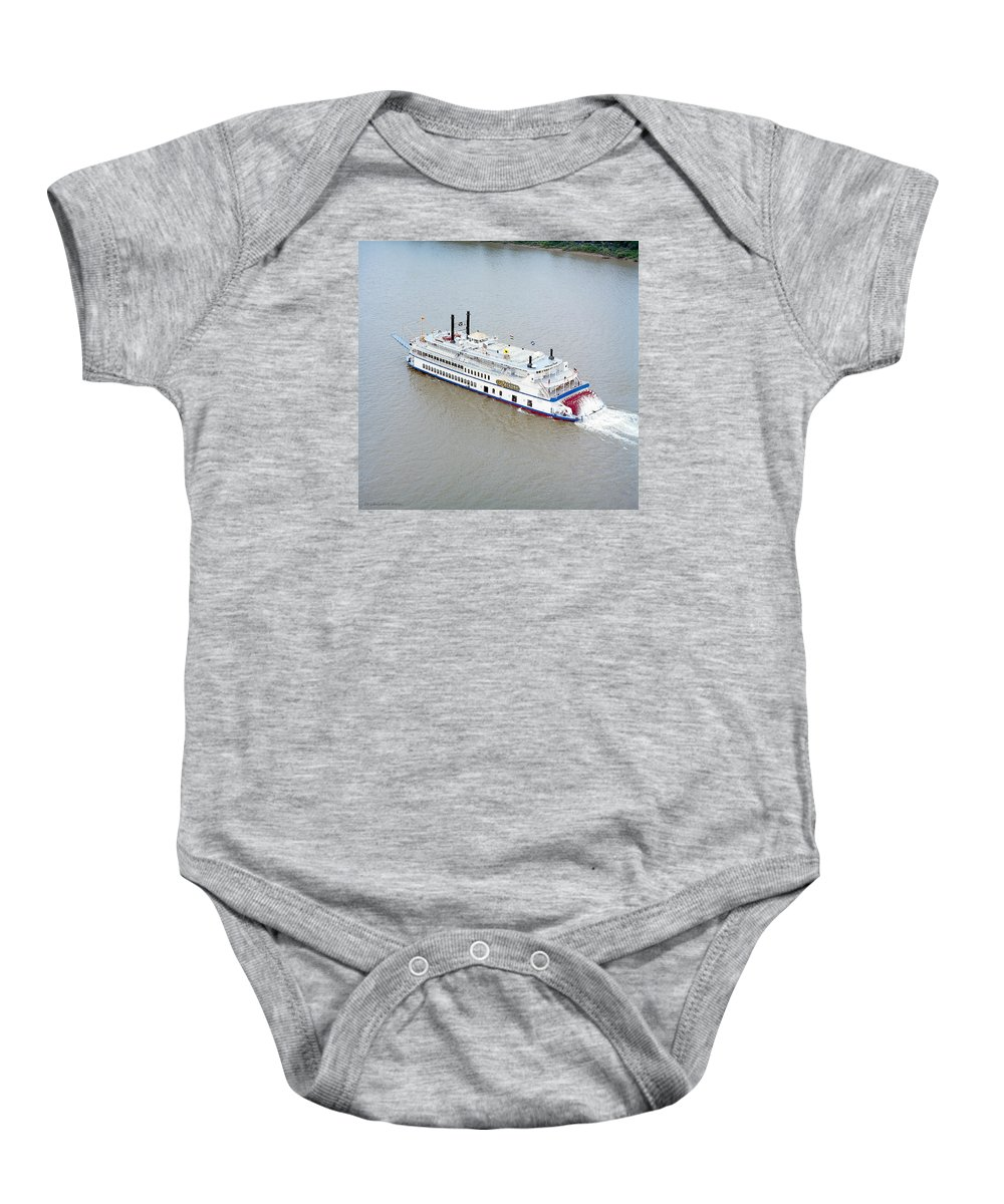 Texas Baby Onesie featuring the photograph River Boat by Erich Grant