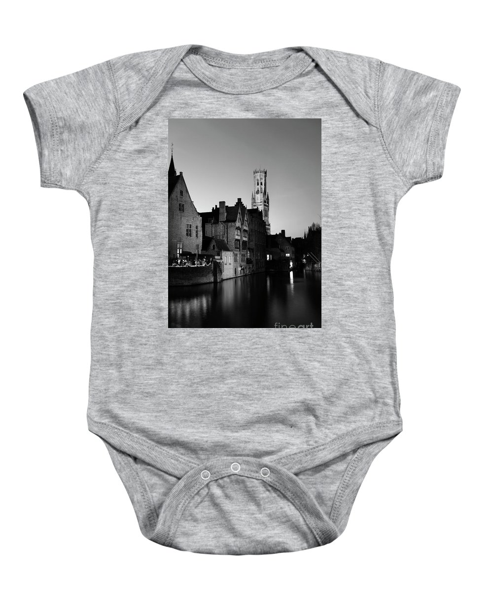 Rozenhoedkaai Area Baby Onesie featuring the photograph River Dijver And The Belfort At Night, Rozenhoedkaai, Bruges by Dave Porter