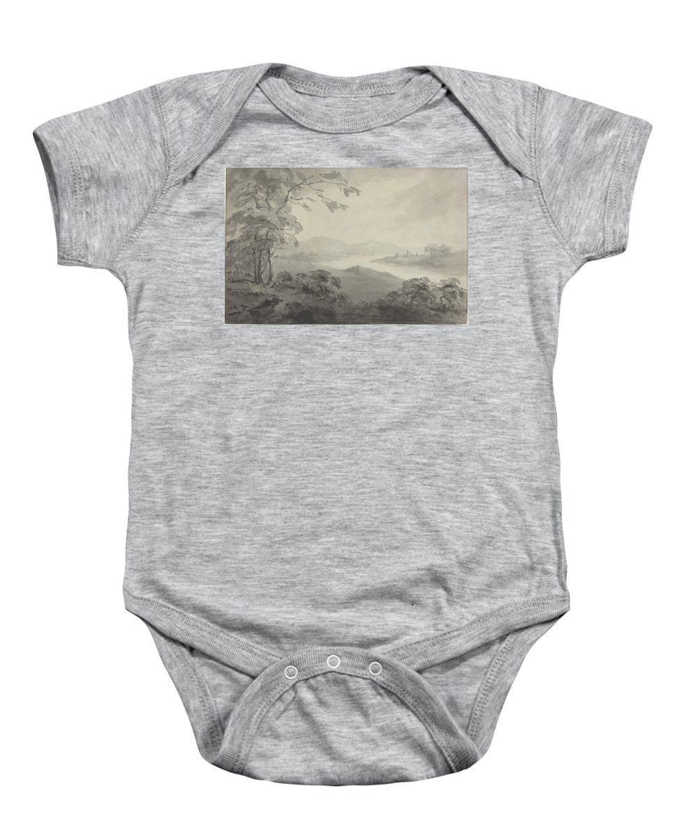 Landscape Baby Onesie featuring the drawing River Landscape With Ruins by William Gilpin