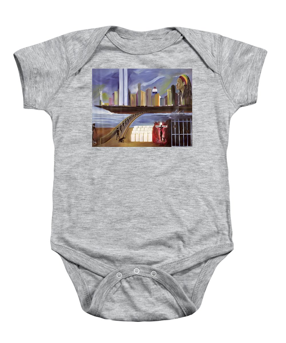 Crossing Baby Onesie featuring the painting River Of Babylon by Ikahl Beckford