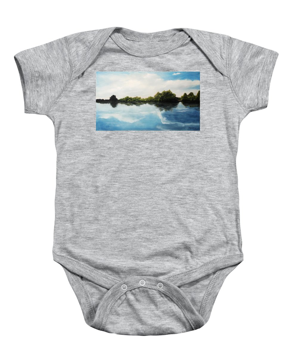 Landscape Baby Onesie featuring the painting River of Dreams by Darko Topalski