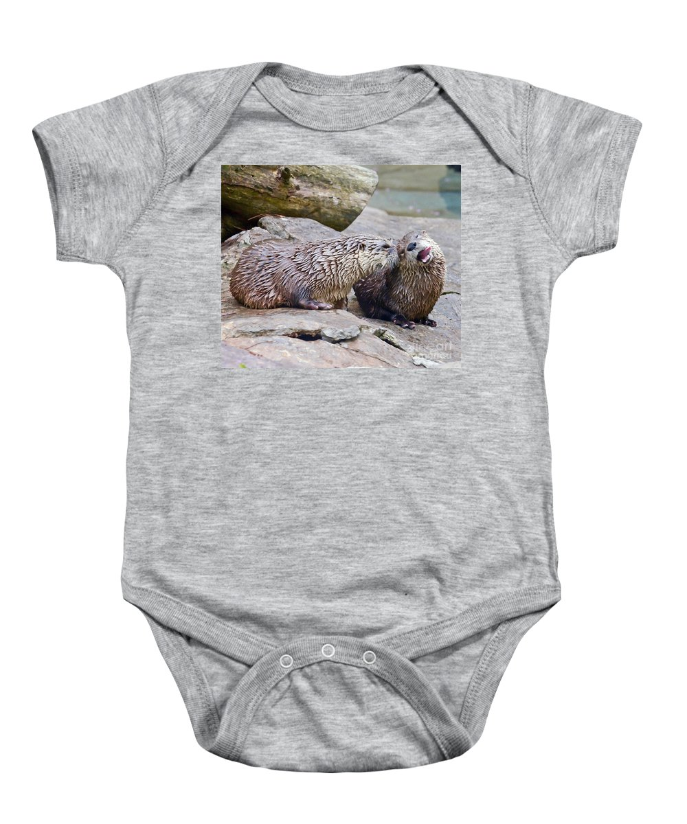 River Otters Baby Onesie featuring the photograph River Otters by Kerri Farley