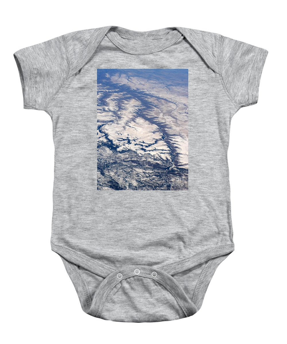 Aerial Baby Onesie featuring the photograph River Valley Aerial by Carol Groenen