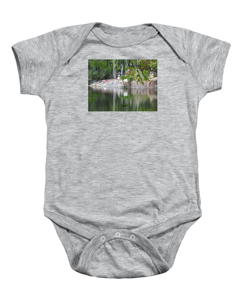 Walt Disney World Baby Onesie featuring the photograph Riverside Steps by Stuart Rosenthal