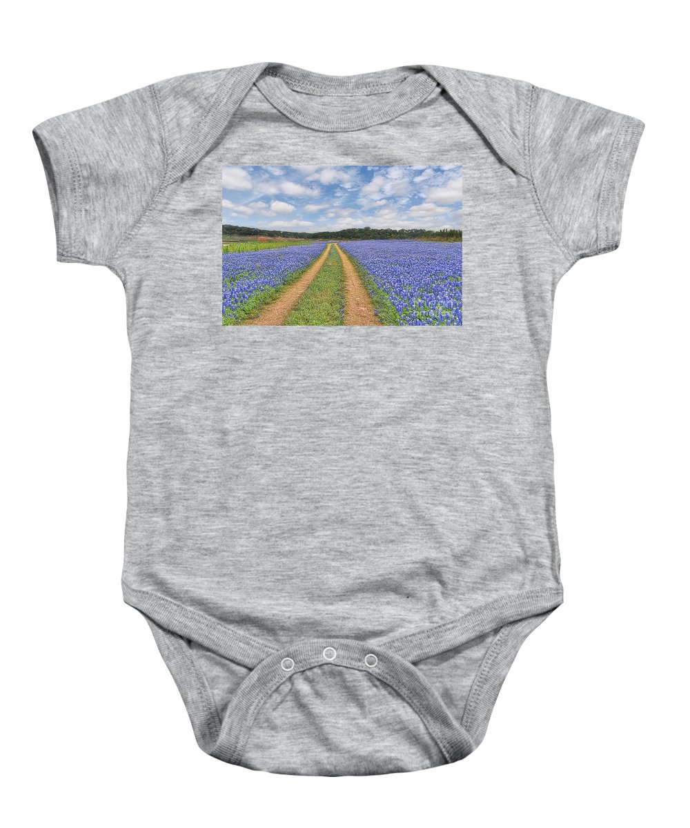 Blue Bonnets Baby Onesie featuring the photograph Road Of Bluebonnets by Tod and Cynthia Grubbs