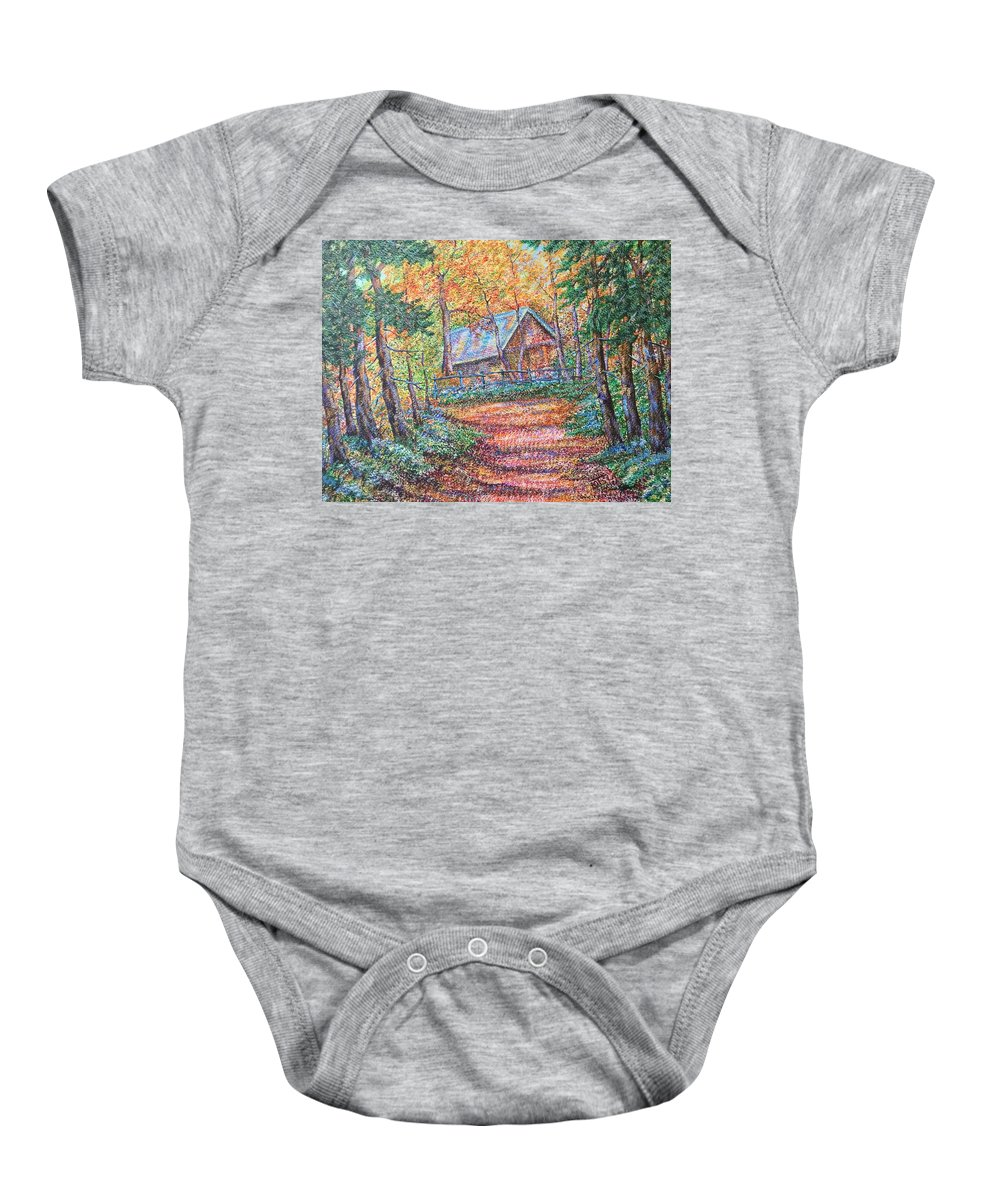 Road Baby Onesie featuring the painting Road To Home by Uriy Bykov