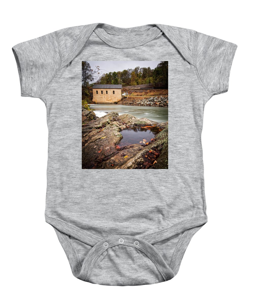 Roanoke Baby Onesie featuring the photograph Roanoke River Niagra Rd Dam by Alan Raasch
