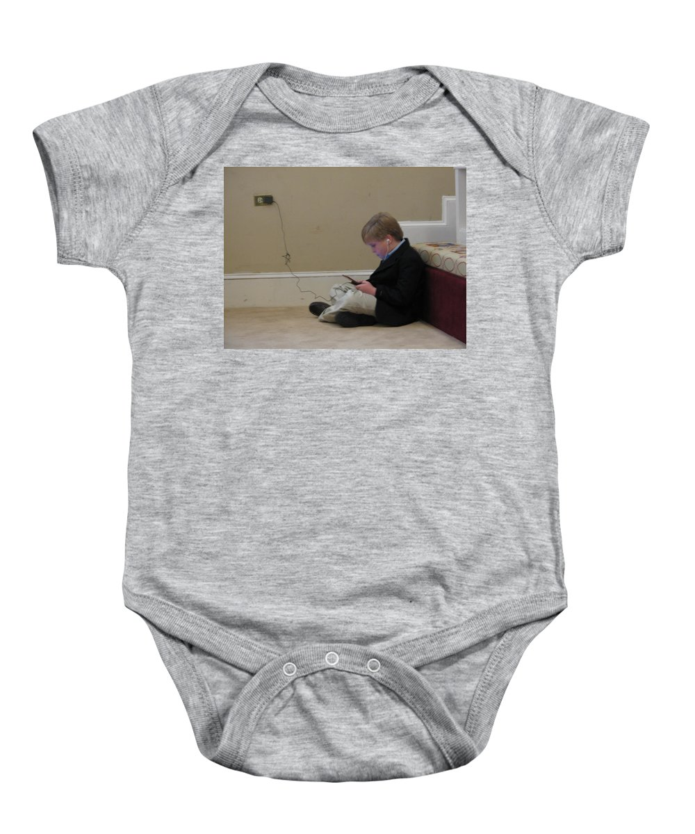Ds Baby Onesie featuring the photograph Rob Plays by Kelly Mezzapelle