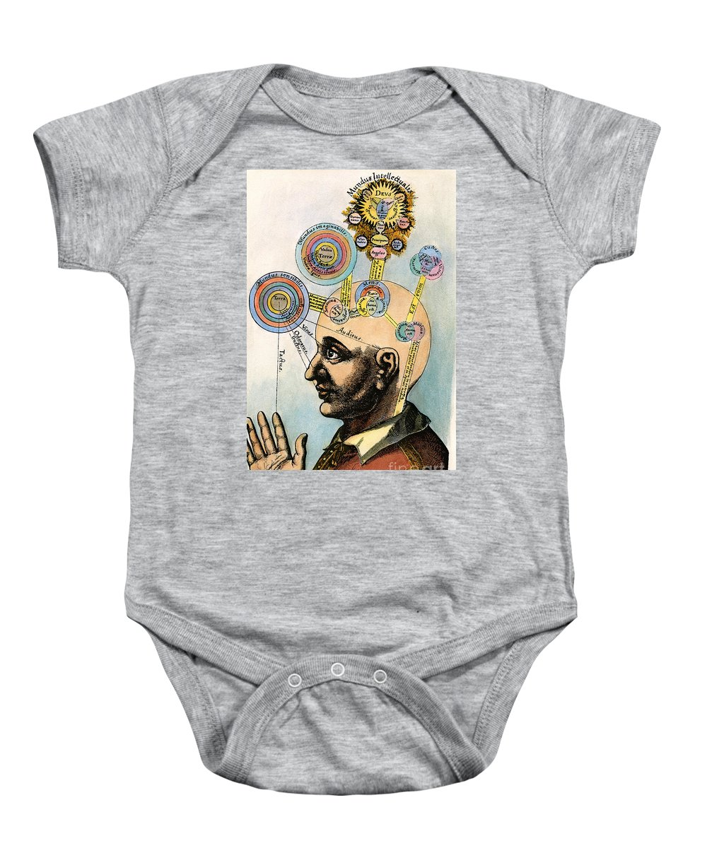 Brain Baby Onesie featuring the drawing Robert Fludd, 1574-1637 by Granger