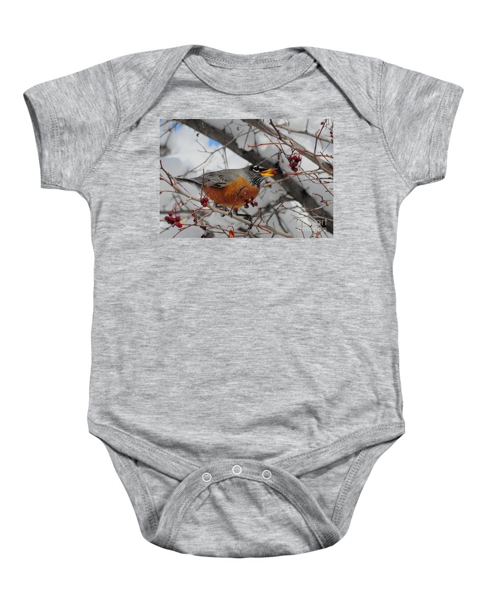 Robin Baby Onesie featuring the photograph Robin Eating A Berry by Merrimon Crawford