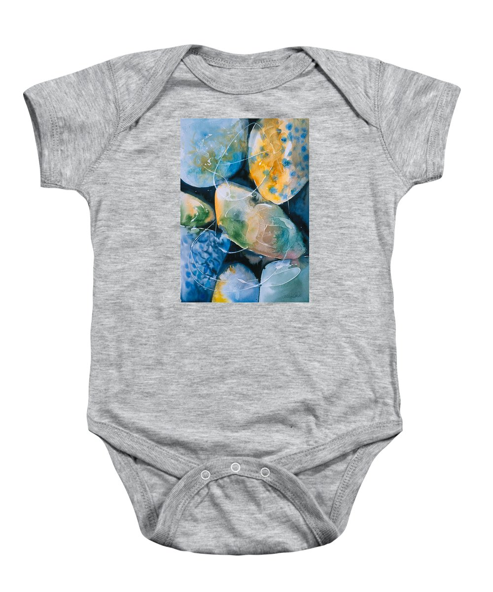 Water Baby Onesie featuring the painting Rock In Water by Allison Ashton