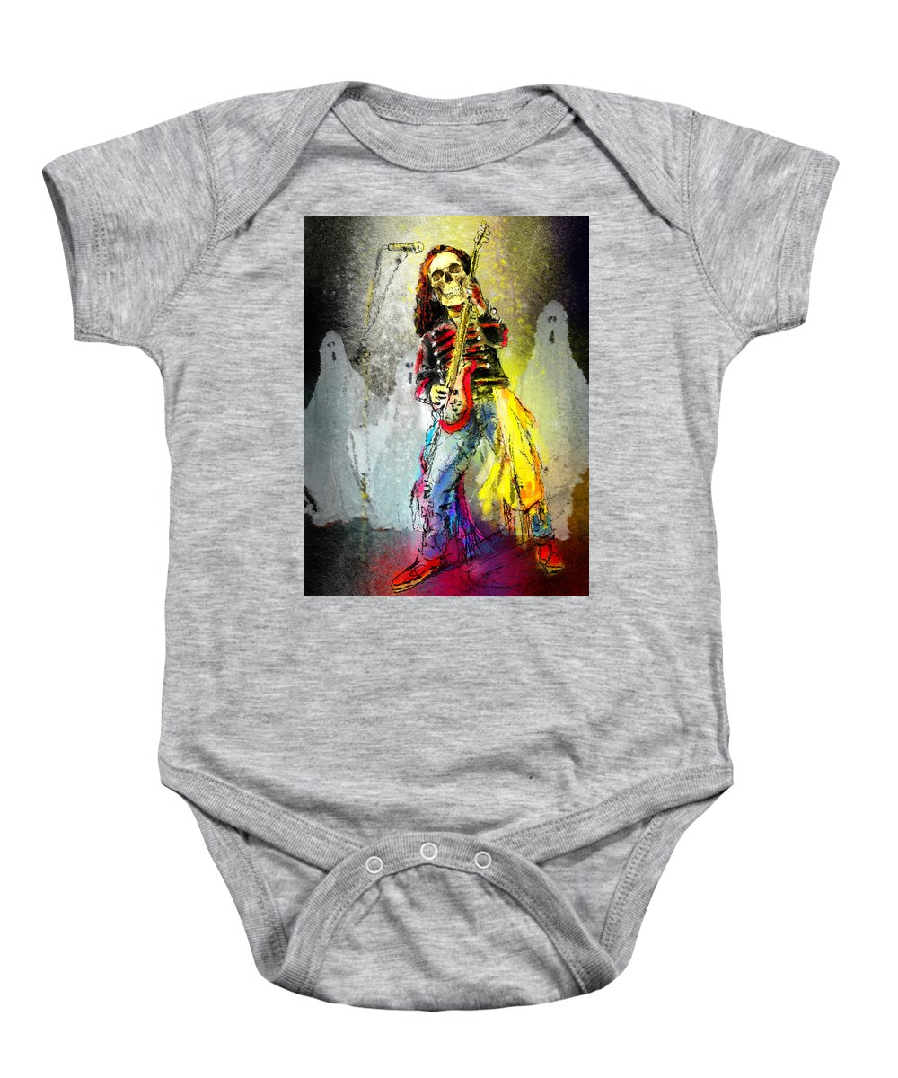 Halloween Baby Onesie featuring the painting Rock N Roll The Bones by Miki De Goodaboom