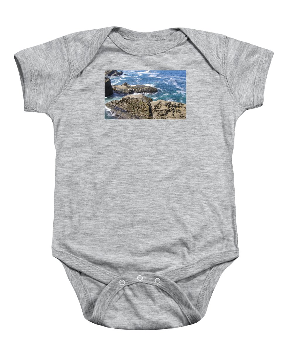 Ocean Baby Onesie featuring the photograph Rock Of Ages by Larry Lacy
