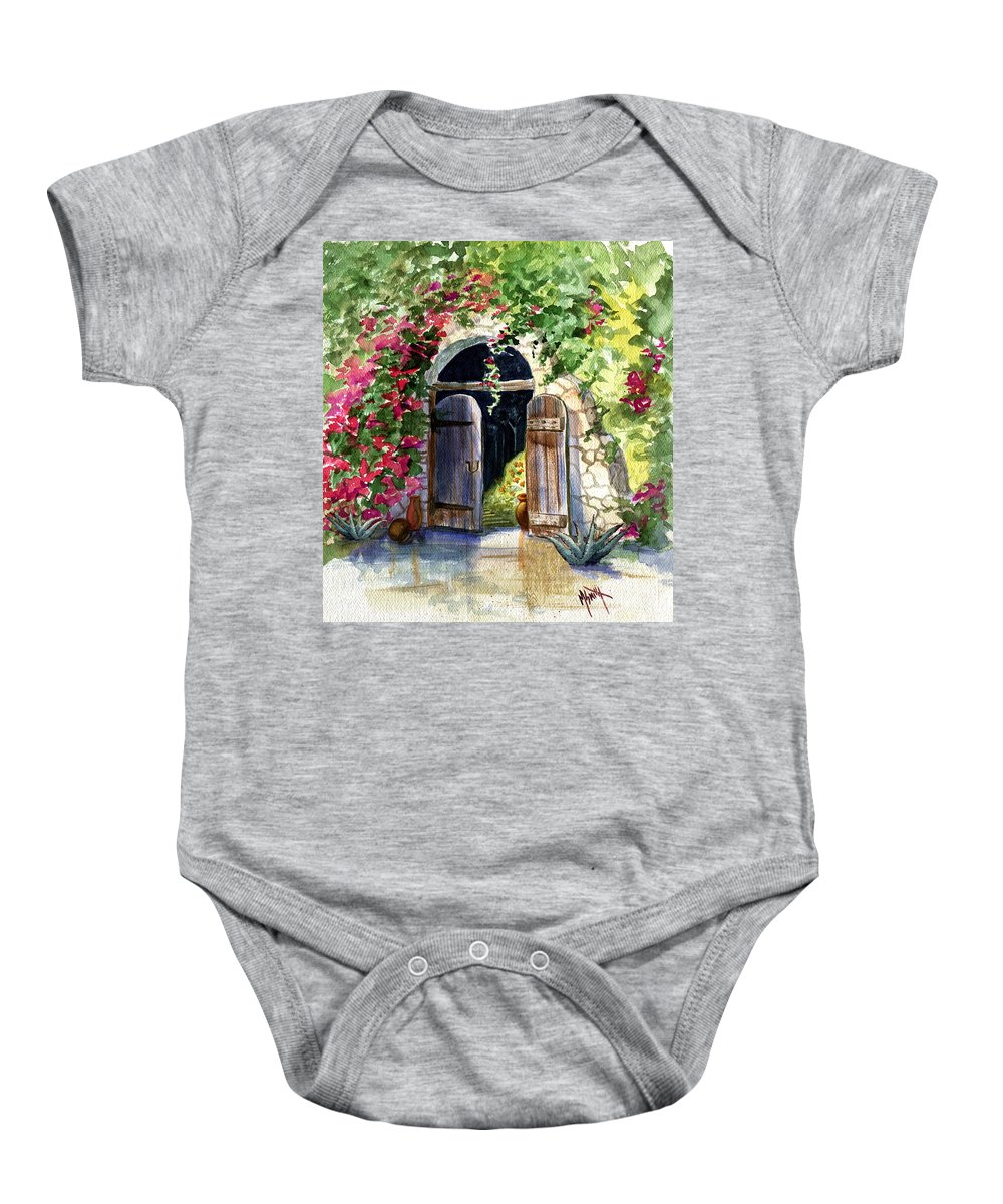 Garden Gate Baby Onesie featuring the painting Rock Springs Gate by Marilyn Smith