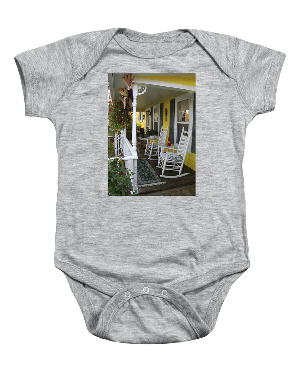 Rocking Chair Baby Onesie featuring the photograph Rockers On The Porch by Margie Wildblood