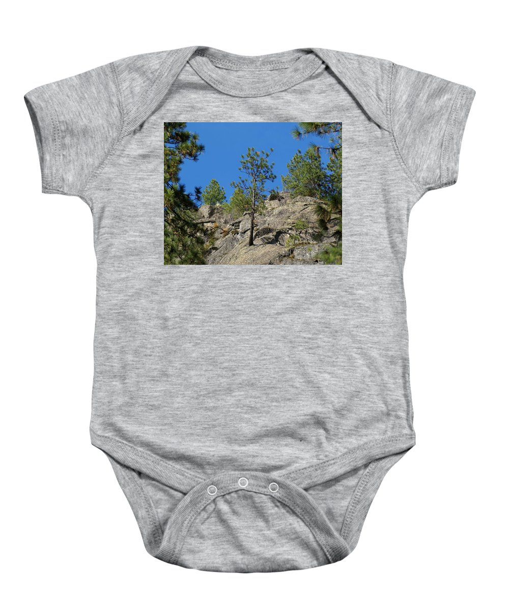 Nature Baby Onesie featuring the photograph Rockin' Tree by Ben Upham III