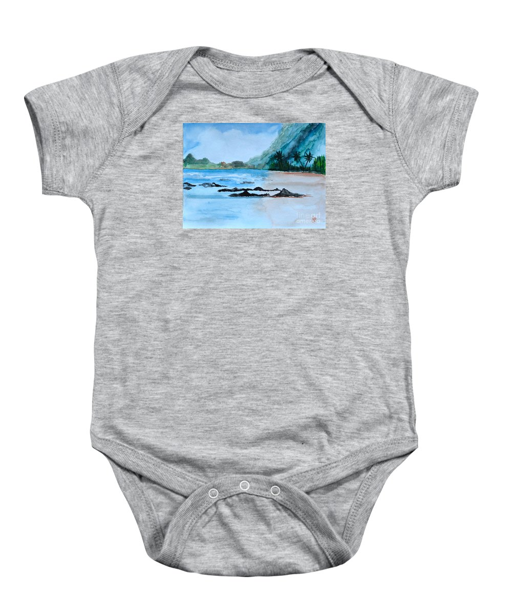 Rocky Beach Baby Onesie featuring the painting Rocky Beach by Christine Dekkers