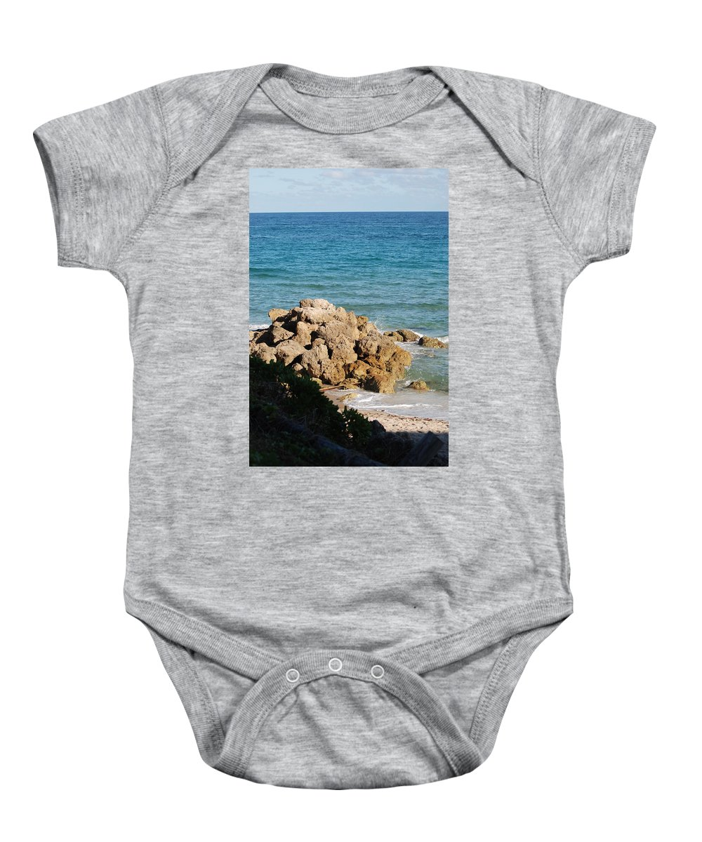 Sea Scape Baby Onesie featuring the photograph Rocky Shoreline by Rob Hans