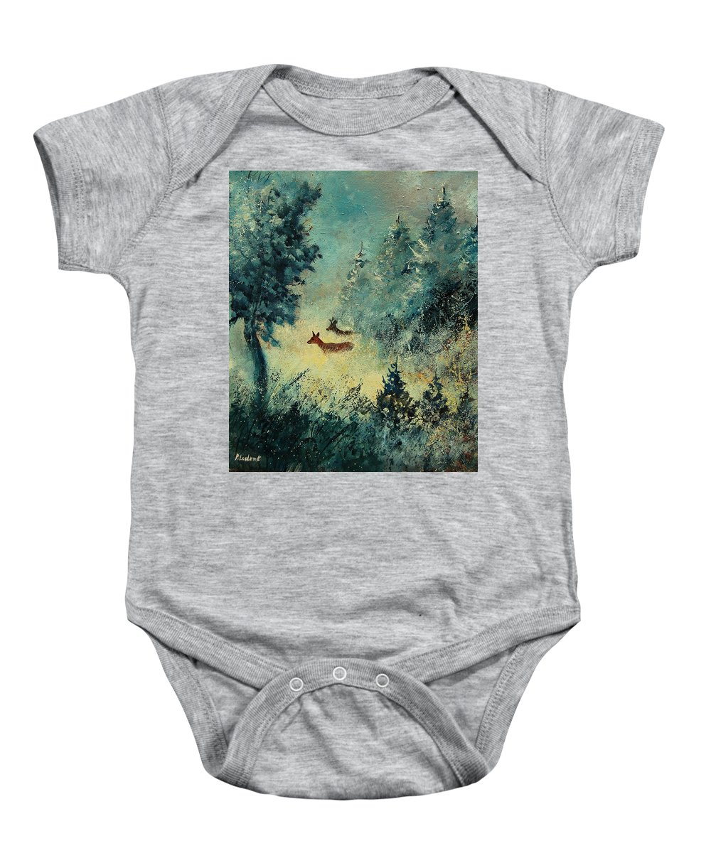 Animal Baby Onesie featuring the painting Roe Deers In September Morning Light by Pol Ledent