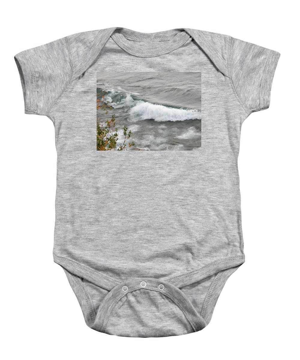 Wave Baby Onesie featuring the photograph Rolling by Kelly Mezzapelle