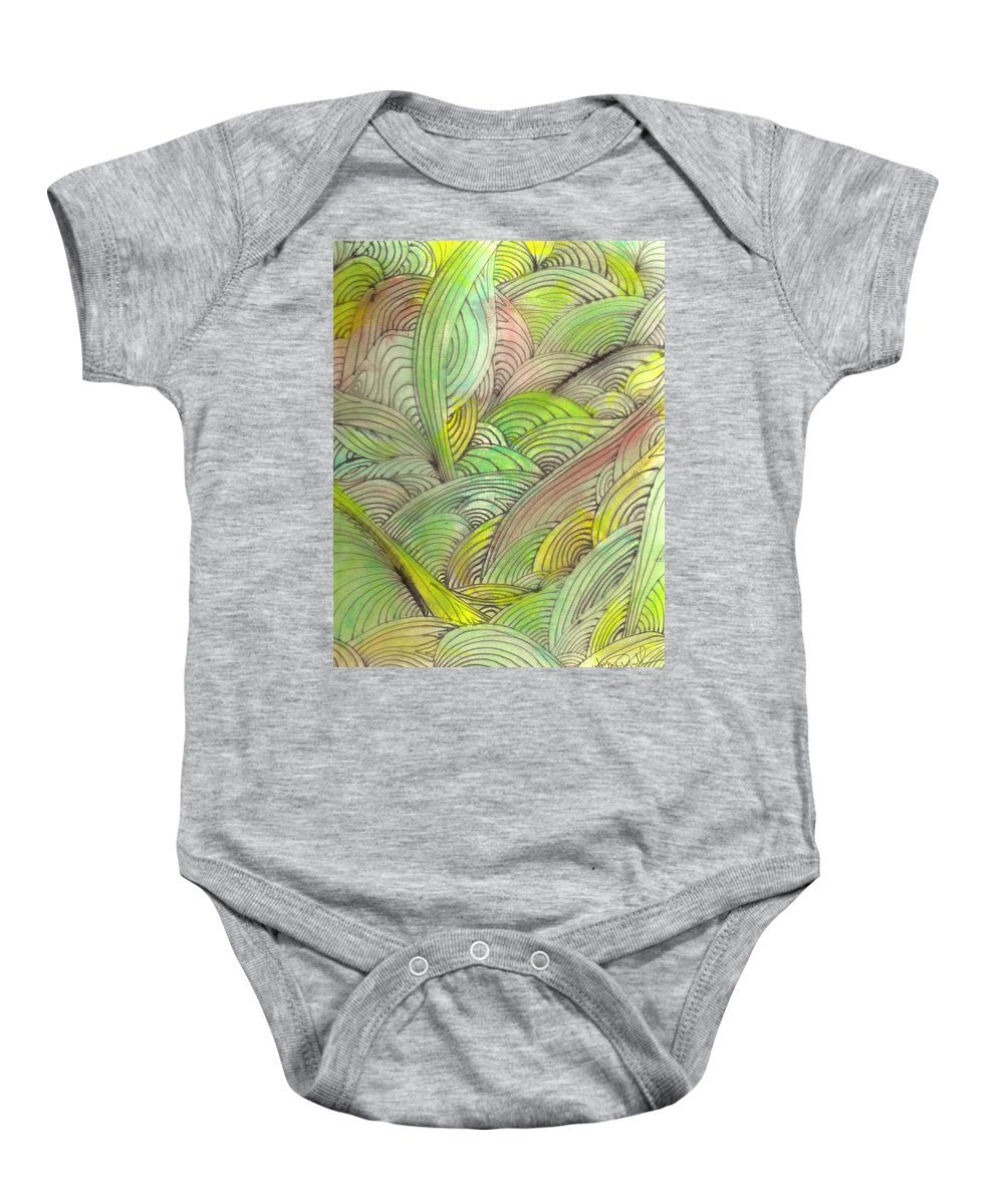 Abstract Baby Onesie featuring the painting Rolling Patterns In Greens by Wayne Potrafka