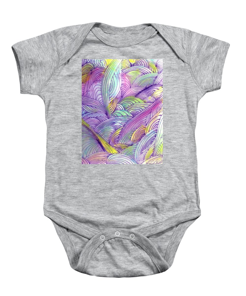 Abstract Baby Onesie featuring the painting Rolling Patterns In Pastel by Wayne Potrafka