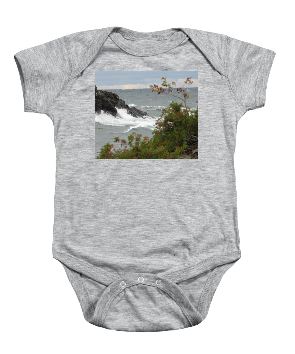 Waves Baby Onesie featuring the photograph Rolling Storm by Kelly Mezzapelle