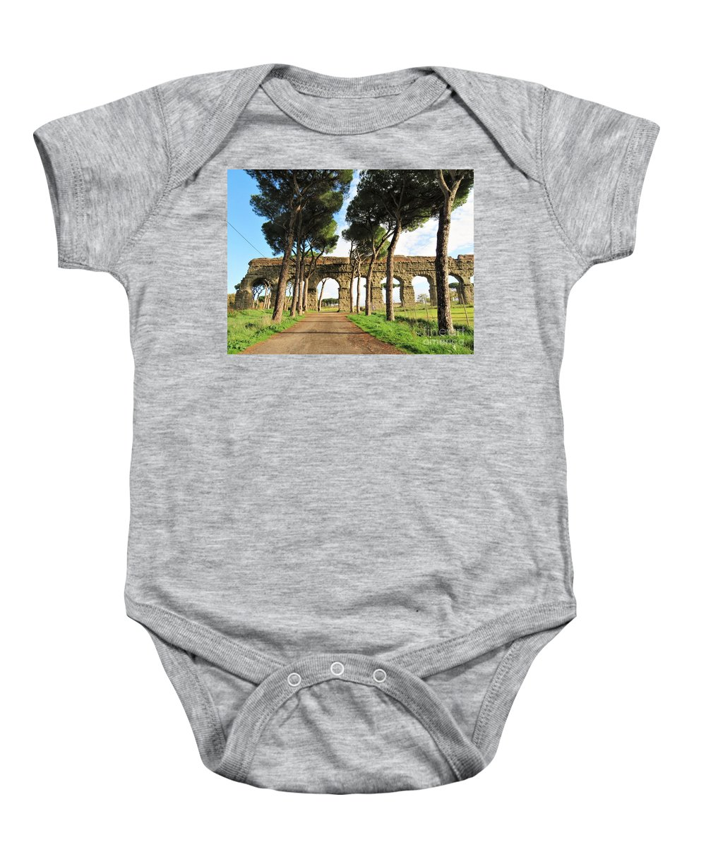 Rome Baby Onesie featuring the photograph Roman Aqueducts by Laurie Morgan