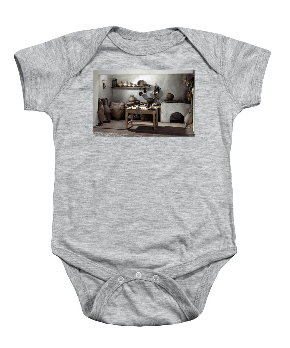 100 Baby Onesie featuring the photograph Roman Kitchen, 100 A.d by Granger