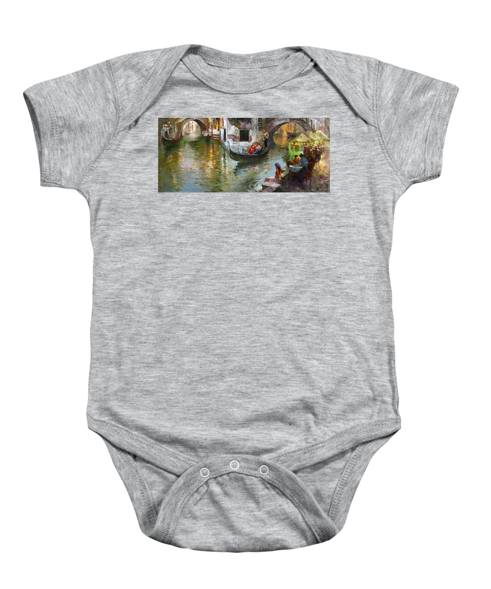 Venice Baby Onesie featuring the painting Romance In Venice 2 by Ylli Haruni