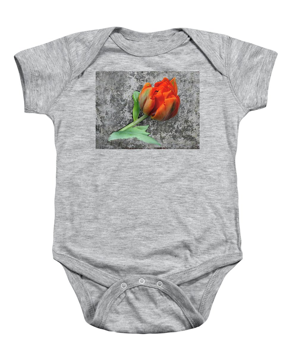 Romantic Baby Onesie featuring the photograph Romantic Tulip by Manfred Lutzius
