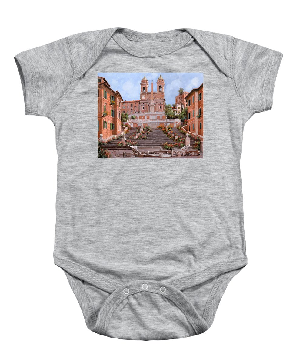 Rome Baby Onesie featuring the painting Rome-piazza Di Spagna by Guido Borelli