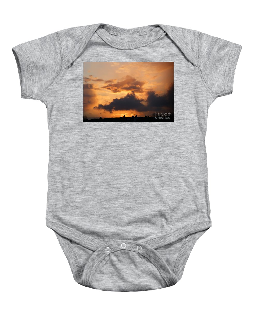 Sunset Baby Onesie featuring the photograph Rooftop Sunset 3 by Carol Lynch