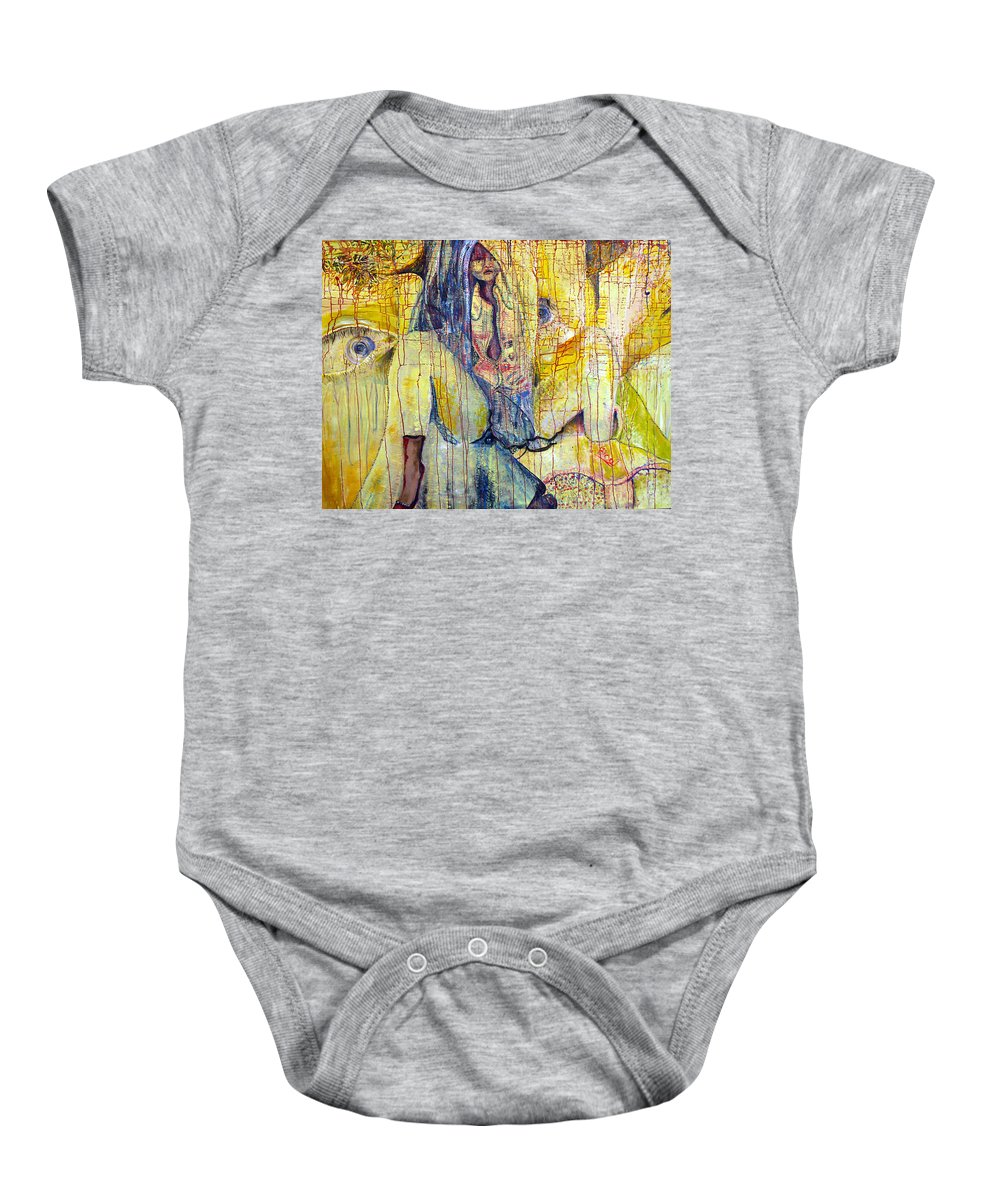 Portrait Baby Onesie featuring the painting Roots by Peggy Blood