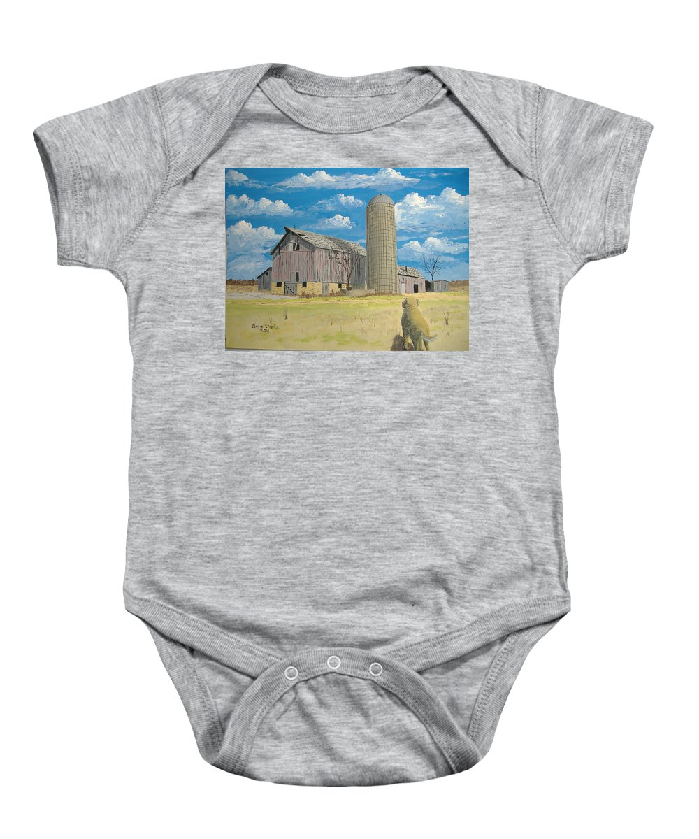 Barn Baby Onesie featuring the painting Rorabeck Barn by Norm Starks